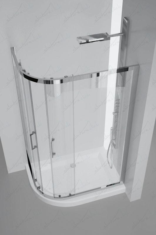 Box Doccia Rettangolare Stondato.Genni Box Doccia Due Ante Asimmetrico Cristallo Trasparente