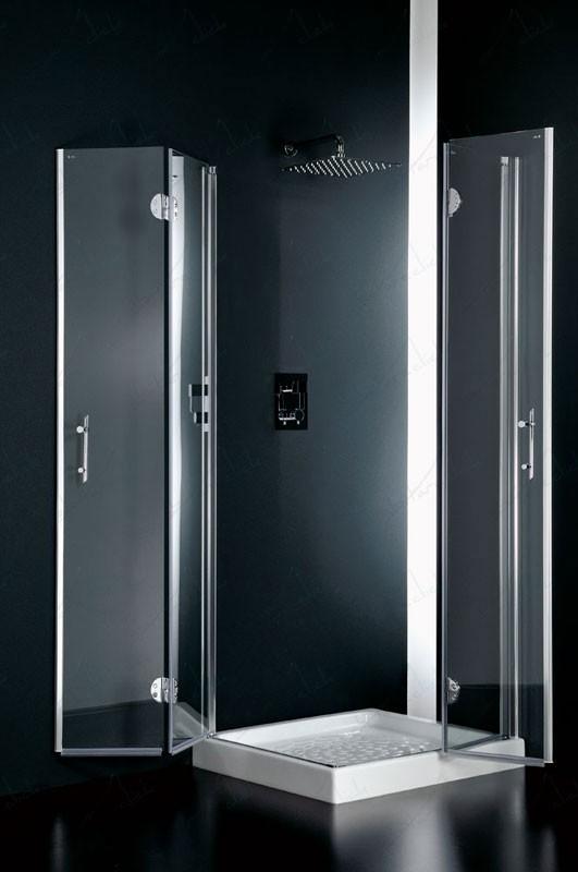 Facile box doccia due lati angolare cristallo trasparente for Doccia aperta