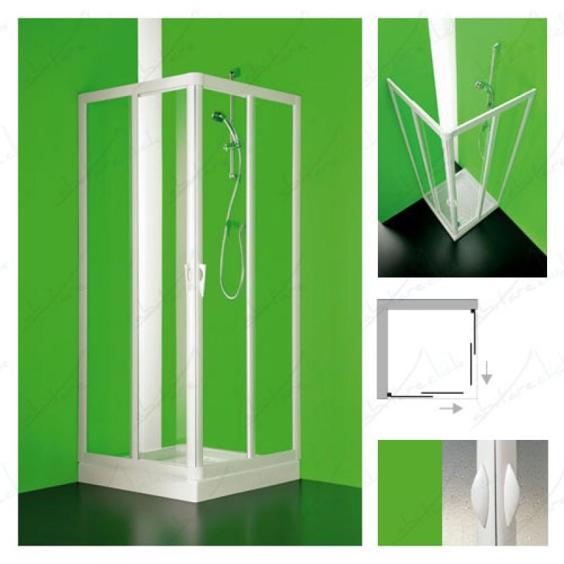 Angolare box doccia due lati scorrevole cristallo trasparente
